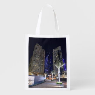 Dubai architecture at night reusable grocery bag