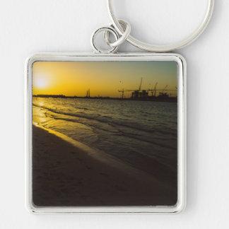 Dubai beach sunset Silver-Colored square keychain