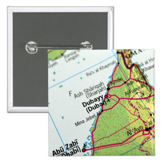 Dubai City Map 2 Inch Square Button
