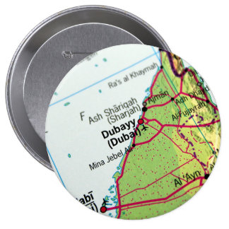 Dubai City Map 4 Inch Round Button