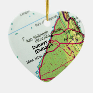 Dubai City Map Ceramic Ornament