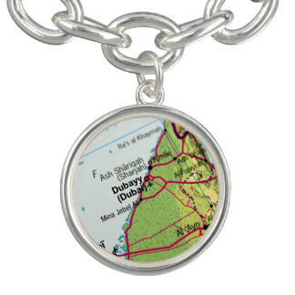 Dubai City Map Charm Bracelets