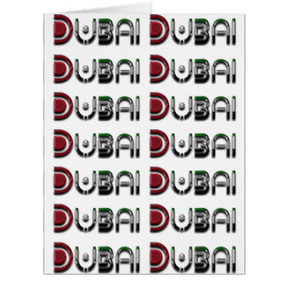 Dubai City UAE Flag Colors Typography Card