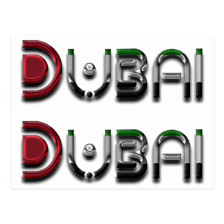 Dubai City UAE Flag Colors Typography Postcard