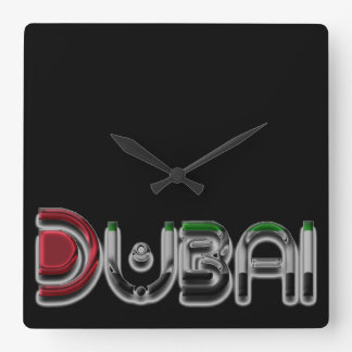 Dubai City UAE Flag Colors Typography Square Wall Clock