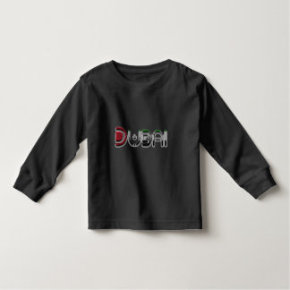 Dubai City UAE Flag Colors Typography Toddler T-shirt