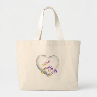 Dubai Heart, world city Large Tote Bag