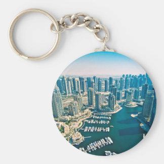 Dubai Marina Basic Round Button Keychain