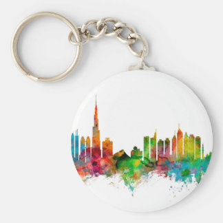 Dubai Skyline Basic Round Button Keychain