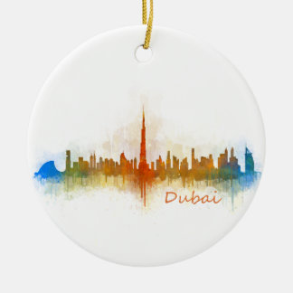 Dubai Skyline Cityscape Emirates v3 Ceramic Ornament
