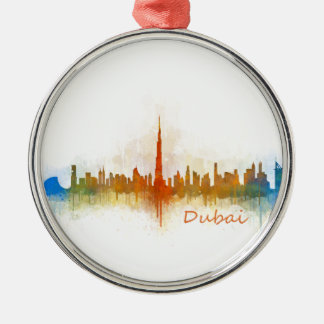 Dubai Skyline Cityscape Emirates v3 Metal Ornament
