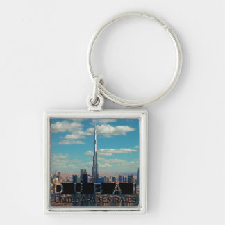 Dubai UAE Souvenir Silver-Colored Square Keychain