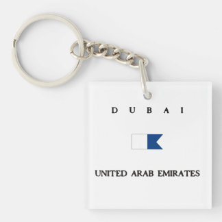 Dubai United Arab Emirates Alpha Dive Flag Double-Sided Square Acrylic Keychain