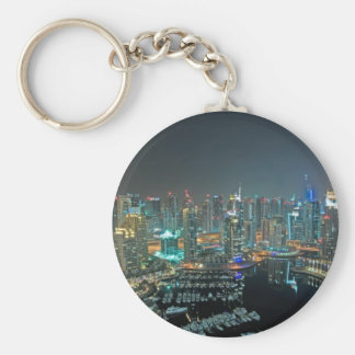 Dubai, United Arab Emirates skyline at night Basic Round Button Keychain
