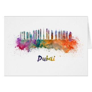 Dubai V2 skyline in watercolor Card