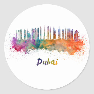 Dubai V2 skyline in watercolor Classic Round Sticker