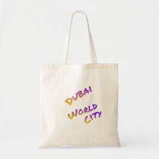 Dubai world city, colorful text art tote bag