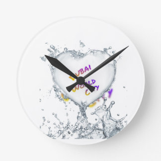 Dubai world city, Heart Water splash Round Clock