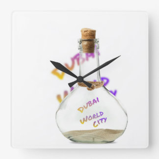 Dubai world city, Water Bottle Square Wall Clock