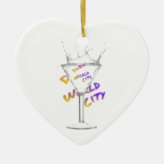 Dubai world city, water glass ceramic ornament