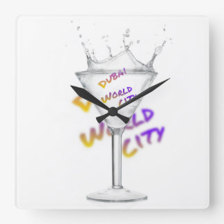 Dubai world city, water glass square wall clock