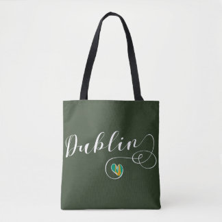 Dublin Heart Grocery Bag, Ireland Tote Bag