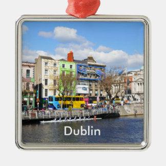 Dublin. Ireland Silver-Colored Square Ornament