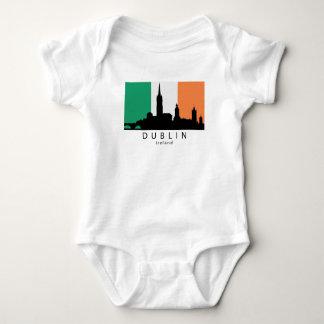 Dublin Ireland Skyline Irish Flag Baby Bodysuit