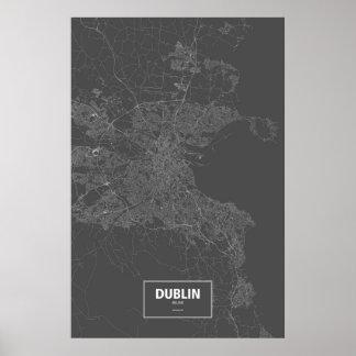 Dublin, Ireland (white on black) Poster