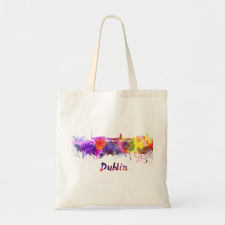 Dublin skyline in watercolor tote bag