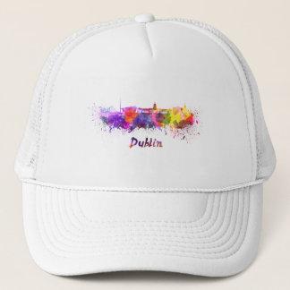 Dublin skyline in watercolor trucker hat