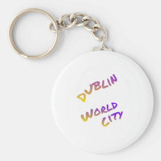 Dublin world city, colorful text art keychain