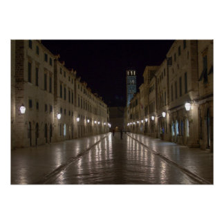 Dubrovnik Croatia at Night Poster