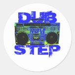 Dubstep Blue Boombox Classic Round Sticker