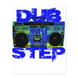 Dubstep Blue Boombox Post Card