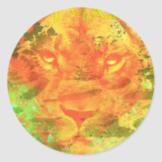 Dubstep Lion - DJ Qazi Round Sticker