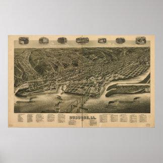 Dubuque Iowa 1889 Antique Panoramic Map Poster