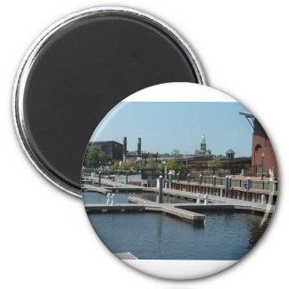 Dubuque, Iowa Ice Harbor, Mississippi River 2 Inch Round Magnet