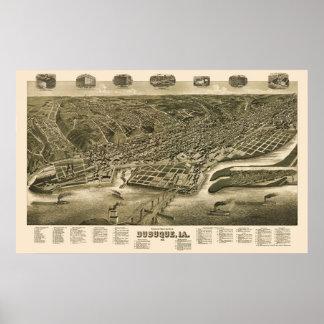 Dubuque, Iowa Panoramic Map - 1889 Poster