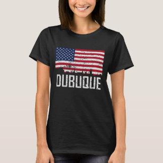 Dubuque Iowa Skyline American Flag Distressed T-Shirt