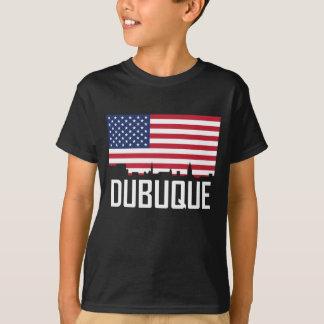 Dubuque Iowa Skyline American Flag T-Shirt