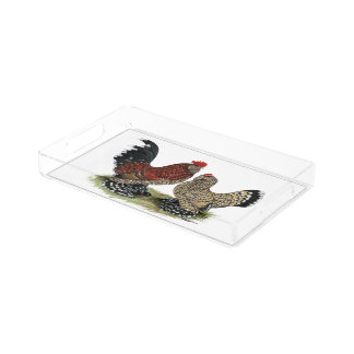 D'Uccle Bantams:  Mille Fleur Acrylic Tray