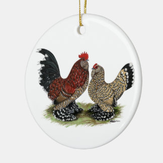 D'Uccle Bantams:  Mille Fleur Ceramic Ornament