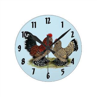 D'Uccle Bantams:  Mille Fleur Round Clock