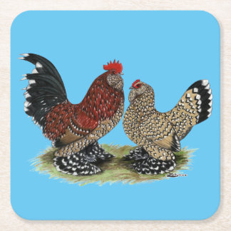 D'Uccle Bantams:  Mille Fleur Square Paper Coaster