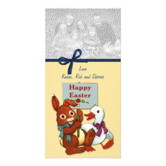 Duck and Bunny Easter Custom Photo Card