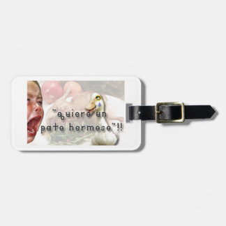 Duck and girl luggage tag