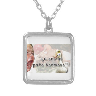 Duck and girl silver plated necklace
