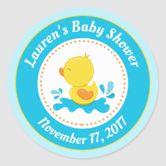 Duck Baby Shower Favor Stickers Blue Baby Boy