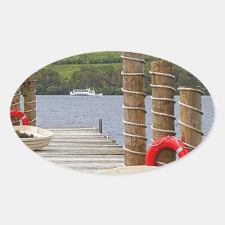 Duck Bay pier, Loch Lomond, Scotland Oval Sticker